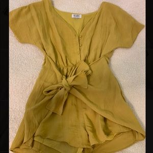 Yellow Romper With Front Tie